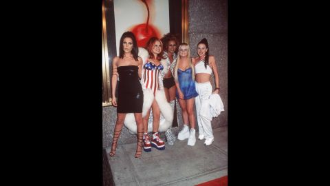 """Though hailing from the UK, Geri """"Ginger Spice"""" Halliwell, second from left, wears the stars and stripes when she and the rest of the Spice Girls attend the 1997 MTV Video Music Awards in New York."""