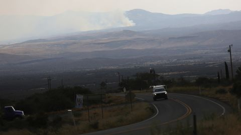 Smoke from the Yarnell Hill Fire is visible from a distance on a road to Yarnell on Monday, July 1.