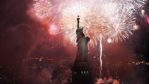 Fireworks explode over the Statue of Liberty  on October 28, 2011, the anniversary of its dedication.