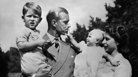 The British royal family tends to opt for very traditional names, often referencing monarchs of the past. Queen Elizabeth II is seen here in 1951 with Prince Philip, and a young Prince Charles and Princess Anne.