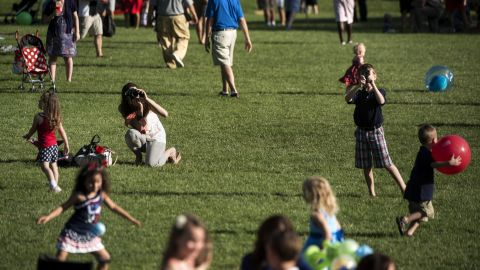 Children play on the South Lawn of the White House on the Fourth of July. President Barack Obama and the first family hosted members of the U.S. armed services and their families to celebrate the 237th anniversary of the counry's independence from the British Empire.