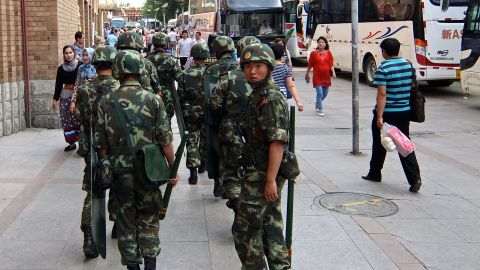 Paramilitary police have been out in force in Xinjiang's capital ahead of the 2009 riots anniversary.
