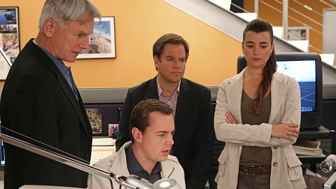 """Mark Harmon, Sean Murray, Michael Weatherly and Cote de Pablo appear in an episode of CBS' """"NCIS."""" According to Nielsen data, the show is tops for the 2012 to 2013 broadcast TV season, with a ranking of 14.2 among households."""