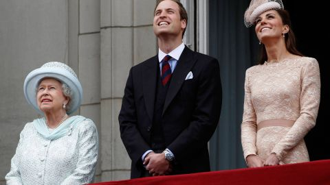 The Queen, William and Catherine stand on the balcony of Buckingham Palace during the finale of the Queen's Diamond Jubilee celebrations in June 2012.