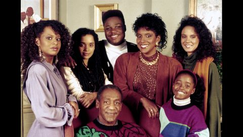 """Bill Cosby as Dr. Cliff Huxtable with his """"Cosby Show"""" co-stars, from left: Tempestt Bledsoe, Lisa Bonet, Malcolm-Jamal Warner,  Phylicia Rashad, Keshia Knight Pulliam and Sabrina Le Beauf."""