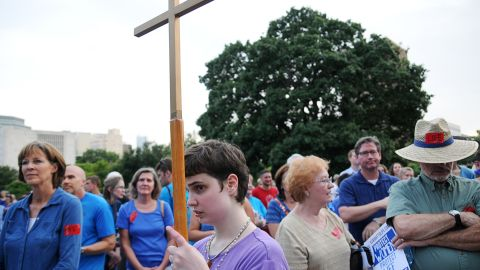 Supporters of an abortion bill listen to speakers at a July 2013 rally organized by the Texas Right to Life Organization.