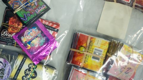 WASHINGTON, DC - JUNE 26: A sample of synthetic drugs is displayed during a news conference at Drug Enforcement Agency headquarters on June 26, 2013 in Washington, DC. The agency announced Project Synergy, a series of law enforcement actions targeting synthetic drugs. (Photo by Brendan Hoffman/Getty Images)