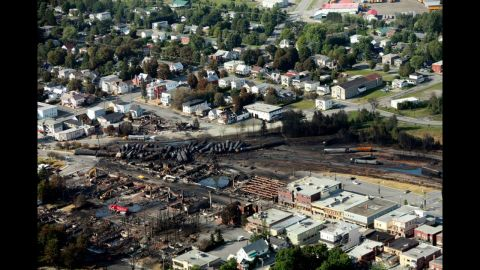 """A """"war zone"""" is how Canadian Prime Minister Stephen Harper described the scene after viewing the destruction."""