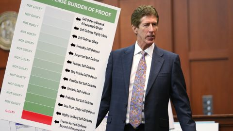 """Zimmerman's attorney Mark O'Mara holds up a chart during closing arguments for the defense on Friday, July 12. """"How many 'what ifs' have you heard from the state in this case?"""" O'Mara asked the jury. """"They don't get to ask you that."""""""