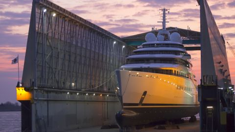 """The record-breaking vessel will be over 40 meters longer than the world's current biggest superyacht, """"Azzam"""" (pictured), believed to be owned by the President of the United Arab Emirates, Sheikh  Khalifa bin Zayed Al Nahyan."""