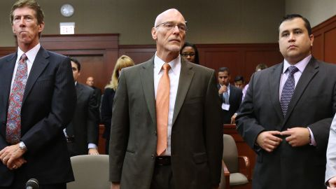 Zimmerman and his defense team stand in the courtroom as the jury arrives before starting their second day of deliberations on July 13.