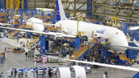 """The United States is <a href=""""http://www.fas.org/sgp/crs/misc/R40967.pdf"""" target=""""_blank"""" target=""""_blank"""">one of the world's biggest producers (PDF) </a>of aircraft, aircraft engines and supply parts, though it relies heavily on international markets for their sales. Aerospace manufacturing is an important part of the U.S. manufacturing base, making up 2.8% of the nation's manufacturing work force in 2008 and employing more than 500,000 Americans in high-skilled and high-wage jobs. Boeing is the world's largest aerospace company, though parts of its Dreamliner (pictured) have been outsourced to a global supplier network."""