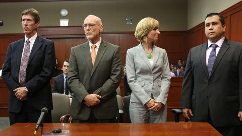 George Zimmerman listens with his defense team as the not guilty verdict is read on July 13.