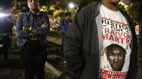 A man in Los Angeles wears a shirt in support of Trayvon Martin on July 13.