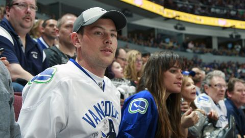 Monteith and Michele attend the NHL Stanley Cup playoffs in Vancouver, British Columbia, on May 3.