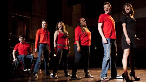 """Kevin McHale, from left, Chris Colfer, Jenna Ushkowitz, Amber Riley, Monteith and Michele appaer in the """"Sweet Dreams"""" episode of """"Glee."""""""