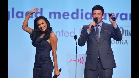 Naya Rivera and Monteith appear at the GLAAD Awards on March 24, 2012, in New York.