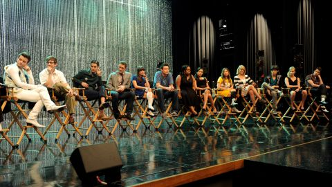 """The cast of """"Glee"""" appears at the 300th musical performance special taping on October 26, 2011, at Paramount Studios in Los Angeles."""