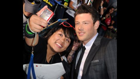 """Monteith poses for a picture at the premiere of """"Glee The 3D Concert Movie"""" on August 6, 2011."""
