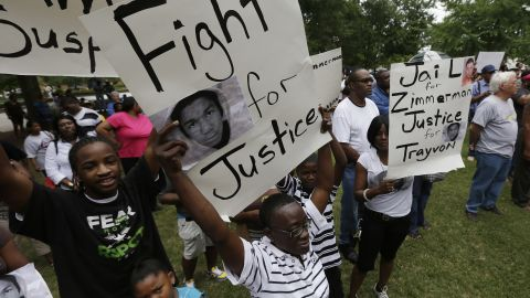 About 500 demonstrators gather during a rally and march in support of Trayvon Martin on July 15 in Birmingham, Alabama.