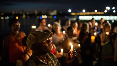 Leon McCutchin participates in a candlelight vigil for Martin on July 15 in New York City.
