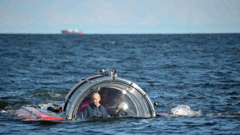 Putin submerges on board Sea Explorer 5 bathyscaphe near the isle of Gogland in the Gulf of Finland on July 15, 2013.
