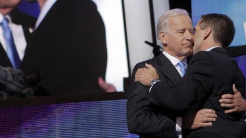 Beau Biden embraces his father, Vice President Joe Biden, at the 2008 Democratic National Convention.. Before his death in 2015, Beau served as Delware's attorney general.