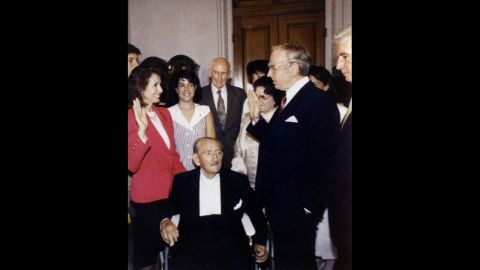 U.S. House Minority Leader Nancy Pelosi, D-California, is the daughter of late Thomas D'Alesandro Jr., a Baltimore mayor and congressman. D'Alesandro, center, attends Pelosi's swearing-in in 1978.