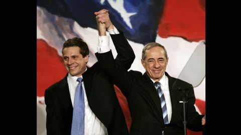 Father-and-son New York governors, Andrew, left, and Mario Cuomo appear at a rally in 2006. CNN anchor Chris Cuomo is another of Mario Cuomo's sons.