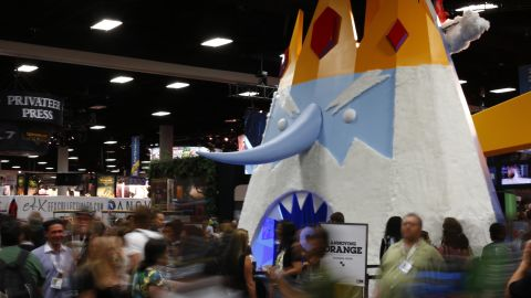 """The """"Adventure Time"""" booth at Comic-Con International towers over crowds of guests on July 18."""