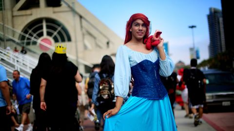 """Gabriel Rivera shows off a costume based on Ariel from  Disney's """"The Little Mermaid."""""""