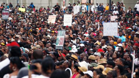Thousands of people gathered outside the Richard B. Russell Federal Building in downtown Atlanta as part of the network of vigils on July 20.