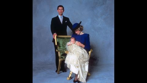 Prince Charles, Princess Diana and 3-month-old Prince Harry at St. George's Chapel in Windsor, England, in December 1984. Charles is the eldest son of Queen Elizabeth II and Prince Philip.