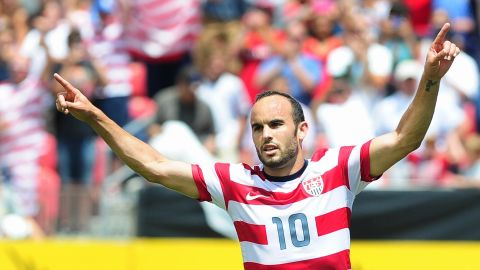 Landon Donovan of the US celebrates his first half equalizer after scoring from the penalty spot against Cuba during their Gold Cup soccer match in Sandy, Utah, on July 13, 2013 where the US defeated Cuba 4-1. AFP PHOTO/Frederic J. BROWNFREDERIC J. BROWN/AFP/Getty Images