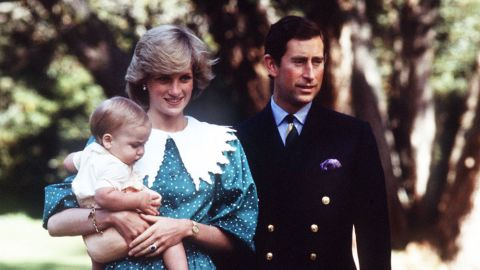 Prince Charles and Princess Diana with their oldest son, Prince William, on a royal tour of Australia in November 1982.