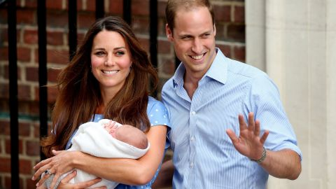 The Duke and Duchess of Cambridge depart St. Mary's Hospital in London with newborn George on July 23, 2013. He was born the previous day at 4:24 p.m., and he weighed 8 pounds and 6 ounces.