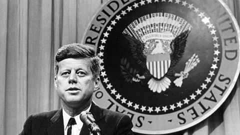 381091 27: President John F. Kennedy speaks at a press conference August 1, 1963. (Photo by National Archive/Newsmakers)