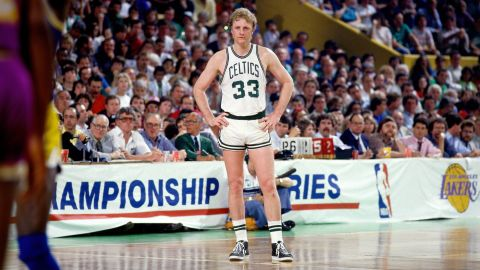 Larry Bird #33 of the Boston Celtics stands on the court during Game Six of the 1985 NBA Finals against against the Los Angeles Lakers at the Boston Garden on June 9, 1985 in Boston, Massachusetts. Copyright 1985 NBAE