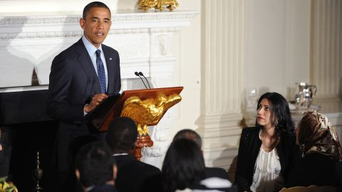 Abedin attends a White House dinner celebrating Ramadan in the State Dining Room of the White House on August 10, 2012.