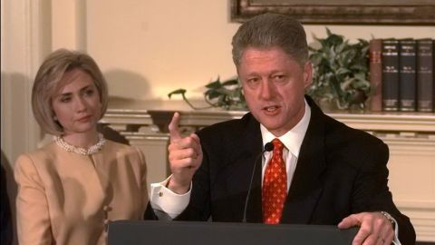 """Hillary Clinton was with her husband, former President Bill Clinton, in January 1998 when he denied having """"sexual relations with that woman, Miss Lewinsky."""" However, when he later admitted in August 1998 that the relationship with the intern was """"not appropriate,"""" she was not with him and later was chilly toward him during a walk to Marine One."""