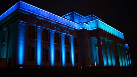The Auckland War Memorial Museum in New Zealand is lit blue on Wednesday, July 24, to celebrate the birth of a baby boy to Prince William, the Duke of Cambridge, and Catherine, the Duchess of Cambridge. Catherine gave birth to the boy at 4:24 p.m. July 22. He weighed 8 pounds, 6 ounces. A name has not been announced for the child, who is third in line to the British throne.