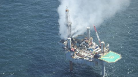 The Hercules 265 drilling rig sits in about 150 feet of water, officials say.