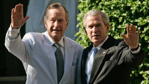 George Herbert Walker Bush and George W. Bush: America's 41st and 43rd presidents. Bush Sr. is the oldest surviving former president. George W. Bush is the second son of a former president to hold the office.