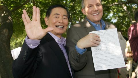 """George Takei: Best known for his role as Mr. Sulu in """"Star Trek,"""" he has become known for his work supporting same-sex marriage after announcing that he was gay in 2005 and marrying longtime partner Brad Altman in 2008."""