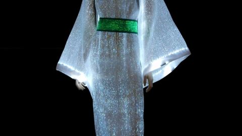 """Glow in the dark with the <a href=""""http://www.lumigram.com/catalog/product_info.php?products_id=112"""" target=""""_blank"""" target=""""_blank"""">LumiDress.</a> Made up of ultra-thin optical fibers woven together with other synthetic fiber this dress will light up the night."""