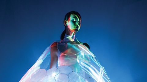 """This concept dress called Bubelle by <a href=""""http://www.design.philips.com/philips/sites/philipsdesign/about/design/designportfolio/design_futures/dresses.page"""" target=""""_blank"""" target=""""_blank"""">Philip's Design </a>interacts with and predicts the wearer's emotional state by changing colors. A beautiful white can turn into a relaxed blue. Philip's dresses are made from high-tech materials and are still in the concept phase."""