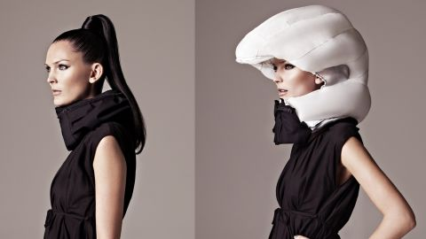 """It's a love/hate thing. The cycling helmet can save your life, but it doesn't look good and tends to ruin your hair. Thankfully the future offers a solution -- the <a href=""""http://www.hovding.com/en/"""" target=""""_blank"""" target=""""_blank"""">Hövding</a>. A Swedish creation, the Hövding is an """"airbag for cyclists"""". It's worn as a collar and only expands into a full helmet if you have an accident."""