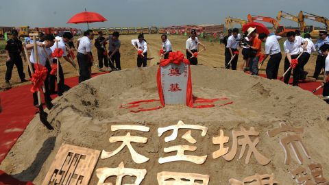 China's Sky City, at 838 meters, will be the world's tallest skyscraper once completed in 2014. Developers held a ground-breaking ceremony on July 20, 2013.
