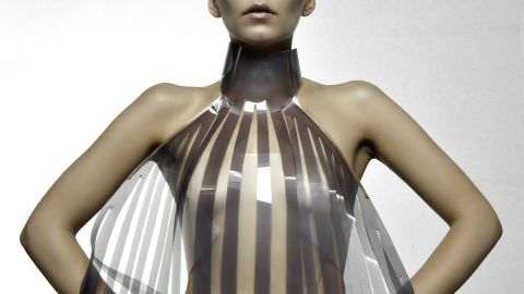 """The dress that turns transparent when the wearer is aroused. Would you try it? Dutch design collective <a href=""""http://www.studioroosegaarde.net/info/"""" target=""""_blank"""" target=""""_blank"""">Studio Roosegaarde</a> have developed a sensual dress called Intimacy 2.0 together with designer <a href=""""http://v2.nl/"""" target=""""_blank"""" target=""""_blank"""">Anouk Wipprecht</a>.  Made of leather and smart e-foils, it 'explores the relationship between technology and intimacy'. The high-tech panels are stimulated by the heartbeat of the wearer. Initially opaque or white, they become increasingly transparent when exposed to an electric current -- in this case a beating heart."""