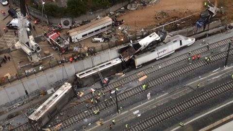 An aerial view shows the site of a train accident near the city of Santiago de Compostela on July 25, 2013. A train hurtled off the tracks on July 24, 2013 in northwest Spain
